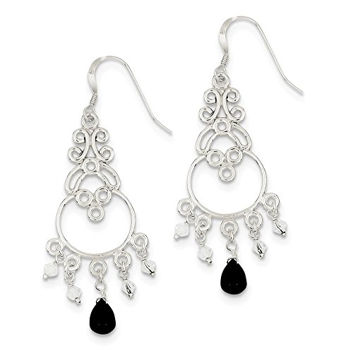 - 925 Sterling Silver Simulated Onyx and Glass Beads Chandelier Earrings (59mm x 20mm)