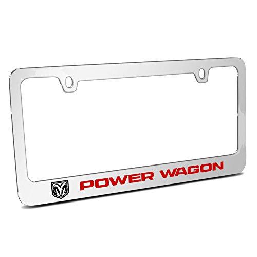 iPick Image RAM Power Wagon Mirror Chrome Metal License Plate Frame