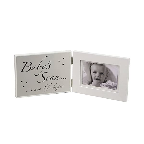 Oaktree Gifts White Baby's Scan Opening Photo Frame 4 x 3