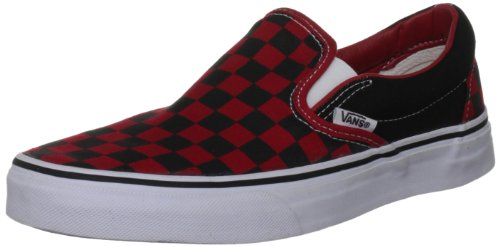 Vans Men's Classic Checkerboard Slip-On Sneaker Black/Red Checker 6.5 M