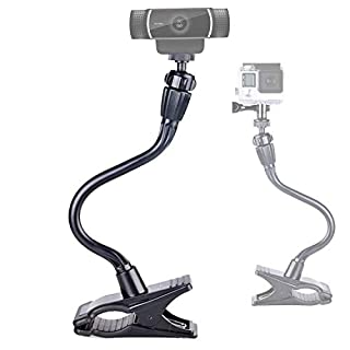 Smatree Adjustable Jaws Flex Clamp Mount 13.4inch Gooseneck Extension Compatible for Logitech Webcam C925e/C922x/C922/C930e/C930/C920/C615/ GoPro Hero 8/7/6/5/4/2018/ Arlo Ultra/Pro/Pro 2/Pro 3