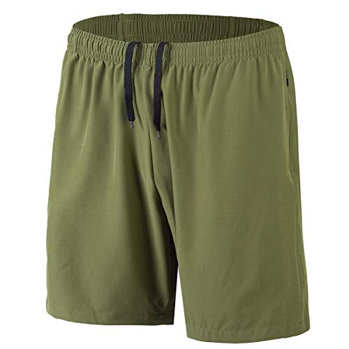 HMIYA Men's Sports Shorts Quick Dry with Zip Pockets for Workout Running Training