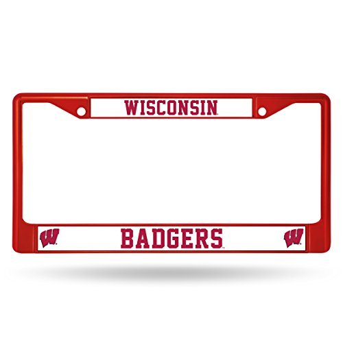Rico Industries NCAA Wisconsin Badgers Colored Chrome Plate Frame, Red ()