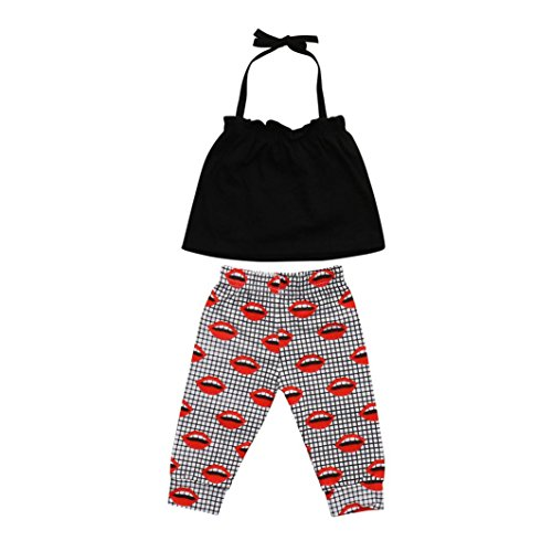 Efaster 2Pcs Infant Baby Girls Solid Sling Tops+Lip Print Pants Outfits Set