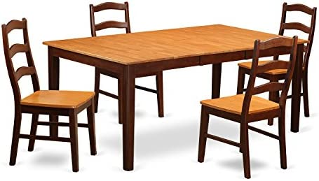 HENL5-BRN-W 5 Pc Dining room set-Table with Leaf and 4 Dining Chairs.