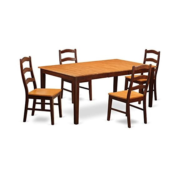 East West Furniture HENL5-BRN-W 5-Pc Dining Set Included a Self-Storing Butterfly Leaf Kitchen Table and 4 Mid Century Dining Chairs - Solid Wood Kitchen Dining Chair Seat & Ladder Back - Brown Finish - 5 piece Henley Rectangular Table With 18in Butterfly Leaf and 4 Wood seat chairs. The table features an integrated 18 inch self storage extension leaf which can be stored right beneath table the top The highest quality dining room set which made out of all Asian Hardwood. Absolutely no MDF, veneer, laminate include with our items. - kitchen-dining-room-furniture, kitchen-dining-room, dining-sets - 41CZi5ALZuL. SS570  -