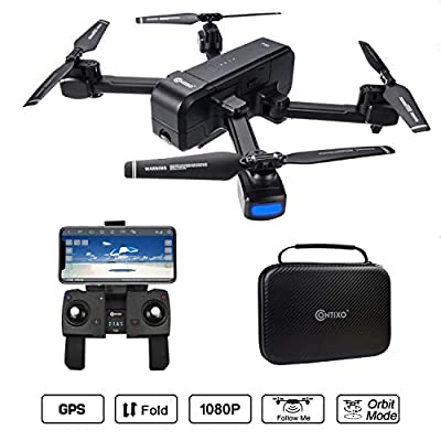 Contixo F22 RC Foldable Quadcopter Drone | Selfie, Gesture, Gimbal 1080P WiFi Camera, GPS, Altitude Hold, Auto Hover, Follow Me, Waypoint Includes Drone Storage Case by Contixo