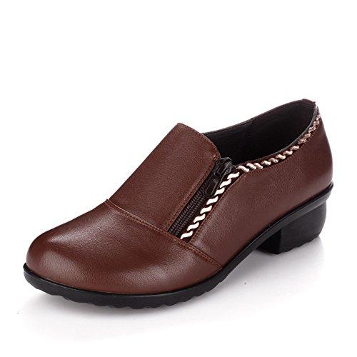 9 madre 3CM Longitud zapatos De mujeres de suave mujer Zapatos 2Inch B de cuero Zapatos mediana edad Zapatos del 23 anciana de del mujer la fondo de pie de PFEwpqC