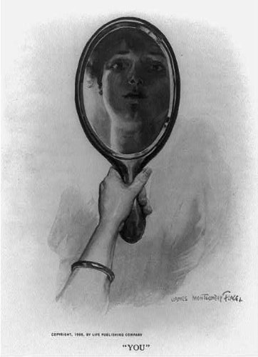 hand holding mirror. Photo: You,Hand Holding Mirror With Reflection Of Woman\u0027s Face,c1906 Hand I