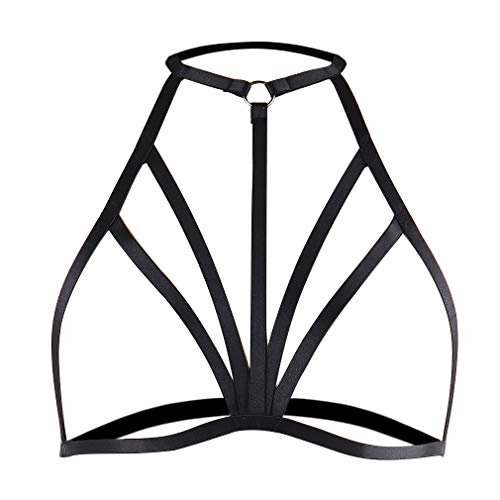 Strappy Body Harness Cage Bra Tops Chest Belt Black Gothic Plus Size