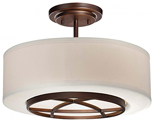 Minka Lavery 4951-267B 3 Light Semi Flush in Dark Brushed Bronze Finish w/White Fabric Shade w/White Glass Diffuser