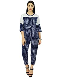 BSR Casual Women's Sleeves Polka Dot Print Collar Jumpsuit Turn Down Bodysuit