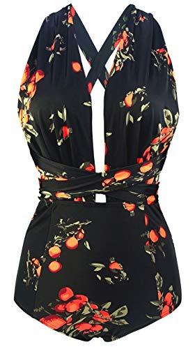 Vintage Retro Fashion (COCOSHIP Black & Orange Tangerine Fruit Retro One Piece V-Neck Swimsuit Bather High Waisted Criss Cross Monokinis Swimwear XXL)