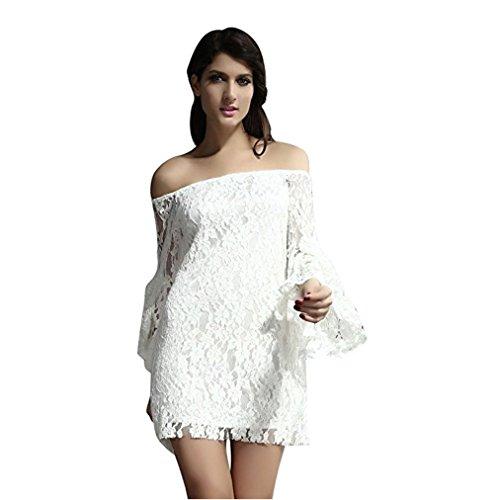 cream lace mini dresses - 2