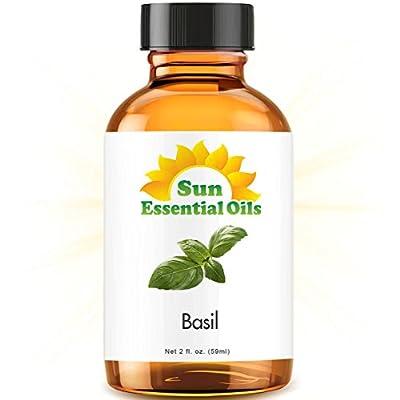 Basil (2 fl oz) Best Essential Oil - 2 ounces (59ml) by Sun Organic