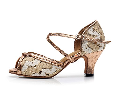 Gold Formal Knot Party Rumba Salsa Print Wedding Women's Prom MGM Ballroom Strap Glitter Sandals Toe Heel Joymod Modern Latin Corss Shoes Appliques Peep Samba Dance Tango Synthetic 6cm gxIzq4wR7