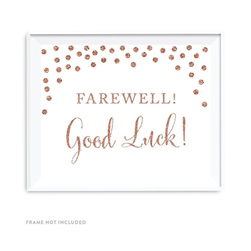 Andaz Press Retirement Party Signs, Rose Gold Faux Glitter, 8.5x11-inch, Farewell! Good Luck!, 1-Pack, Champagne Copper Colored Party Supplies Decorations