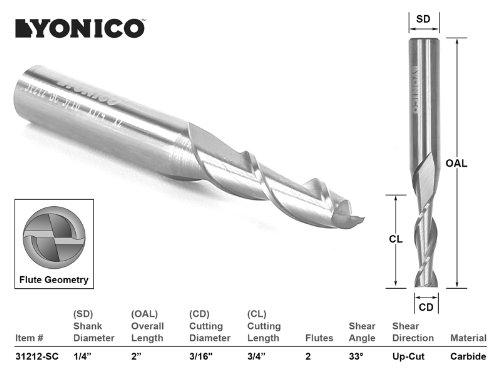 (Yonico 31212-SC CNC Router Bit Up Cut Solid Carbide with 3/16-Inch X 3/4-Inch X 1/4-Inch X 2-Inch 1/4-Inch Shank)