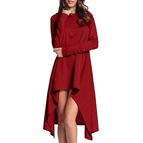 Bokeley Women Sweatshirt, 2017 Hot Sale!Women Casual Loose Irregular Split Long Sleeve Hooded Sweatshirt Tops Blouse Pullover (Red, L)
