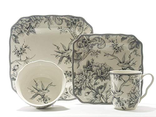 Adelaide Grey 16 Piece Dinnerware Set Square ()