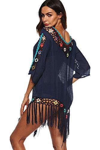 Hippie Serviette Cover Tunique 08 Kimono Up Blouses Bohême Plage Color Avec En Sarong Bikini Robe Floral Femme Souris Chic Taille De Manche Crochet Chemisier Chauve Eté Paréo Grande CzwS06