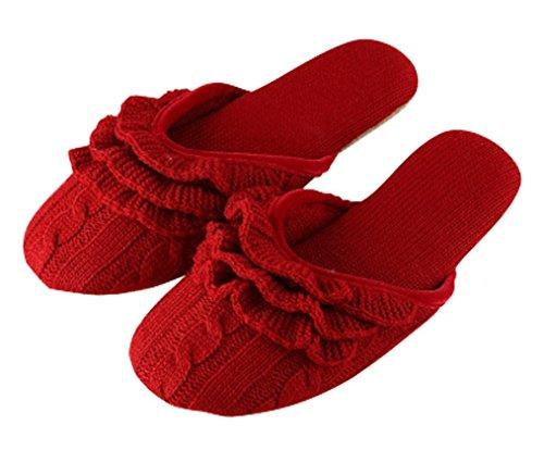 Pantuflas De Lana Cómodas Interiores De Cattior Para Mujer Zapatillas De Punto Rojas