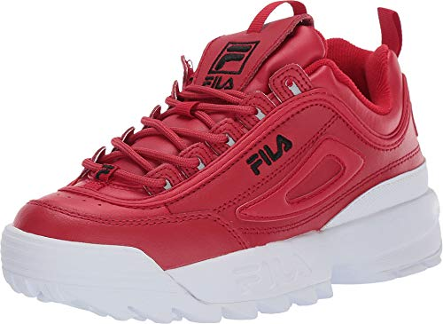 Fila Women's Disruptor II Premium Sneakers, Fila Red/Black/White, 8 M US Black Red Sneakers Shoes