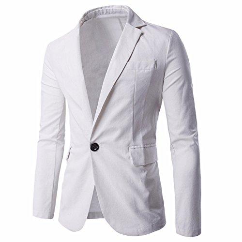 Blazer De Hommes Slim Fit Un z Occasionnels Costume Solides Vestes Pour Manteaux Blanc Bouton Qiyun wnC4OqIgxn