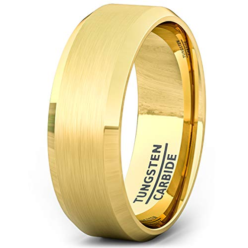 Duke Collections Mens Wedding Band 18k Gold Plated Brushed Beveled Edge...