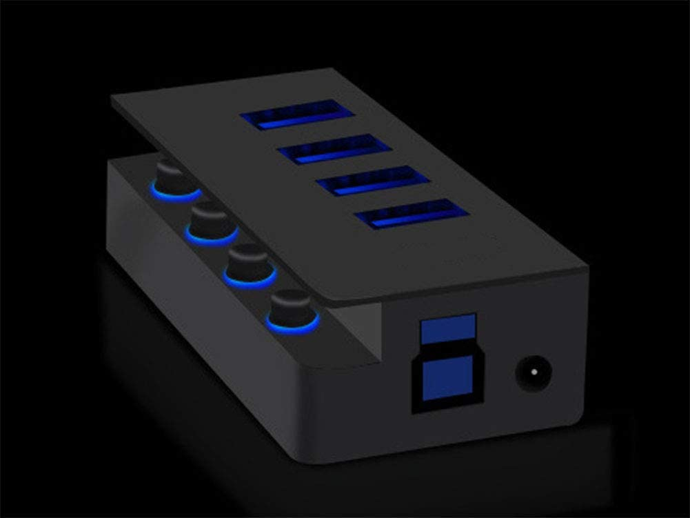 USB Hub Hub with USB Port 3.0 Abs Plastic Extended 4-Port Hub Hub with Power /One to Four Interfaces 5Gbps High Speed Transmission