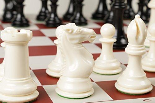 Ivory Like Chess Set (Extra Large, Extra Heavy Chess Set, Ivory Pieces & Red Vinyl)