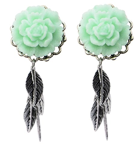 Mint Green Rose - Single Flare Steel Plugs with Mint Green Rose Frame Front and Leaf Dangles Ear Gauges - Sold As Pair (6mm - 2g Pair)