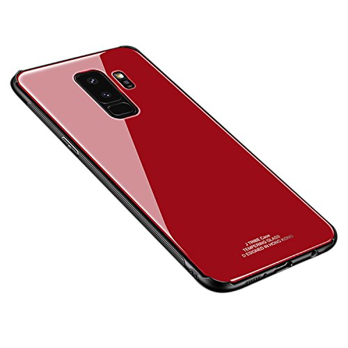 Ldea Galaxy S9 Plus Case, Silicone Shockproof Tempered Glass Back Cover Shell (Red)