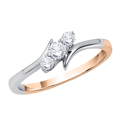 KATARINA 3 Diamond Promise Ring in 14K Two Tone Gold (1/4 cttw, J-K, SI2-I1) (Size-7.25) ()