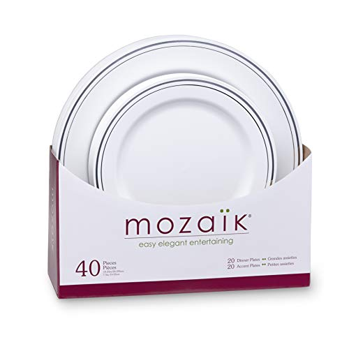 Mozaik Premium Plastic Silver Banded Plate Set, 40 pieces