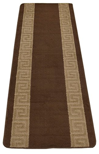 Custom Size Runner Area Rug 26 Inch Wide Slip Skid Resistant Rubber Back Greek Key Design Anti Bacterial Meander Collection (Brown, 20 ft x 26 in) by RugStylesOnline