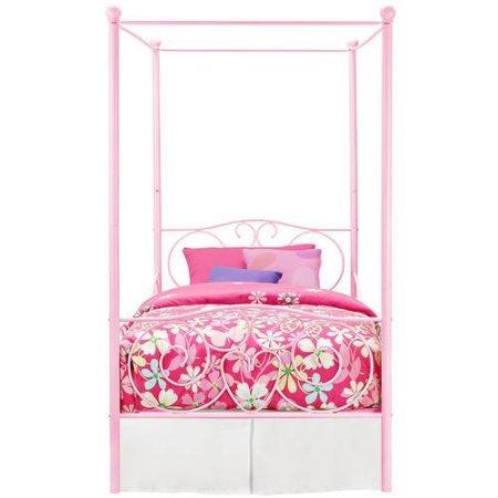 canopy twin metal bed girls frame princess bedroom furniture white carriage size pink kids girl. Black Bedroom Furniture Sets. Home Design Ideas