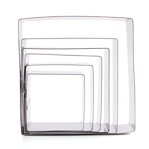 Happy Hours Deluxe Stainless Steel Square Mousses Pastry Rings Cutter Cake Moulds Fondant Cookie Biscuit Cake Shapes Baking Tool Set of 6