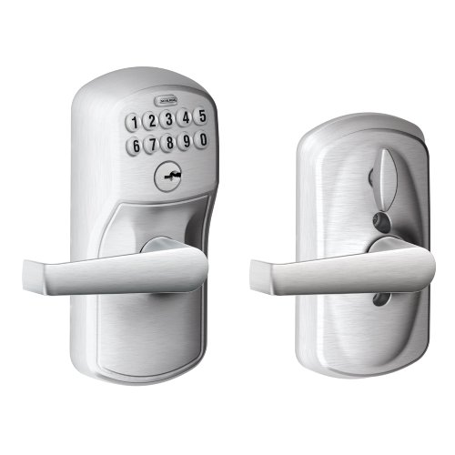 Schlage FE595 V PLY 626 ELA Plymouth Keypad Entry with Flex-Lock and Elan Style Levers, Brushed Chrome Schlage