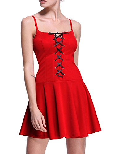 Firpearl Women's Front Lace Up Fit and Flare Straps Dress L Red