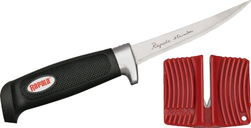 Rapala 7 1/2 Inch Soft Grip Fillet Knife / Single Stage Sharpener / Sheath