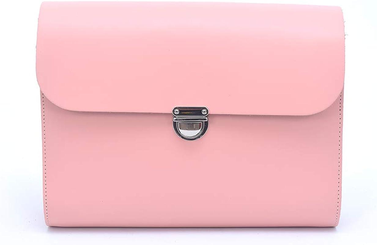 A to Z Leather Bolsos satchel de piel grandes y pequeños con correa ajustable, hechos a mano y con cierre metálico. Pueden personalizarse con unas iniciales. Grande - Rosa Palo