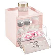 mDesign Plastic Makeup Organizer Storage Station Cube with 3 Drawers for Bathroom Vanity, Cabinet, Countertops - Holds Lip Gloss, Eye Shadow Palettes, Brushes, Blush, Mascara - Light Pink/Clear