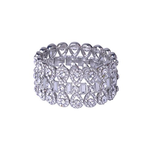 Crystal Rectangle Shape - Topwholesalejewel Rhodium Crystal Rhinestone Infinity Shape with Rectangle Crystal Stretch Bracelet