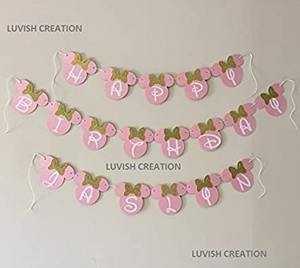LUVISH Creation Minnie Mouse Birthday Banner