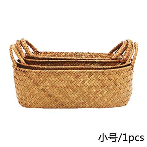 (Best Quality - Storage Baskets - Handmade Bamboo Storage Baskets Foldable Laundry Straw Patchwork Wicker Rattan Seagrass Belly Garden Flower Pot Planter Basket - by - 1 PCs)