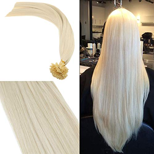 (Youngsee 16inch Utip Hair Extensions Blonde Fusion Human Hair Extensions #60 White Blonde Nail Tip Remy Human Hair Extensions 50Strands/50pack)