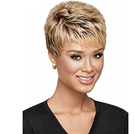 Short Wigs On Sale (SmartFactory Women Short Natural Permanent Blonde Human Hair Synthetic Fiber Wigs for Usual Life)