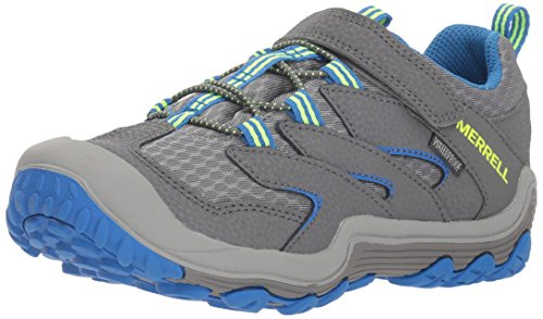 Image of Merrell Boys' Chameleon 7 Access Low A/C WTRPF Hiking Shoe, Grey/Blue, 6 Medium US Big Kid
