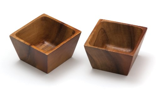 Lipper International 1100-2 Acacia Wood Square Salt Pinch or Serving Bowls, 3
